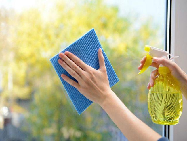 limpiar cristales con spray y balleta limpiacristales